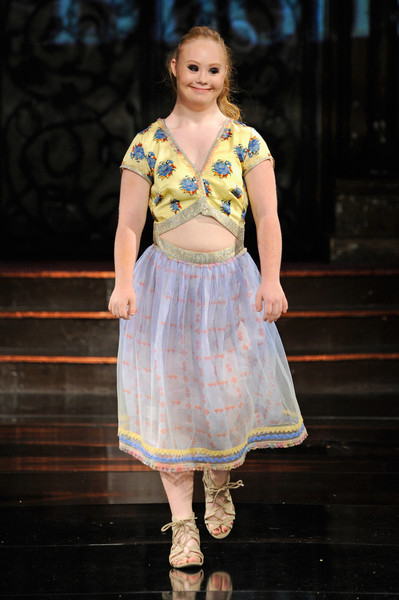 Model Madeline Stuart walks the runway wearing Rutu Bhonsle' at Art Hearts Fashion NYFW The Shows presented by AIDS Healthcare Foundation. (Sept. 12, 2016 - Source: Arun Nevader/Getty Images North America)