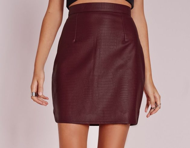 Snake Faux Leather Mini Skirt Burgundy, $17