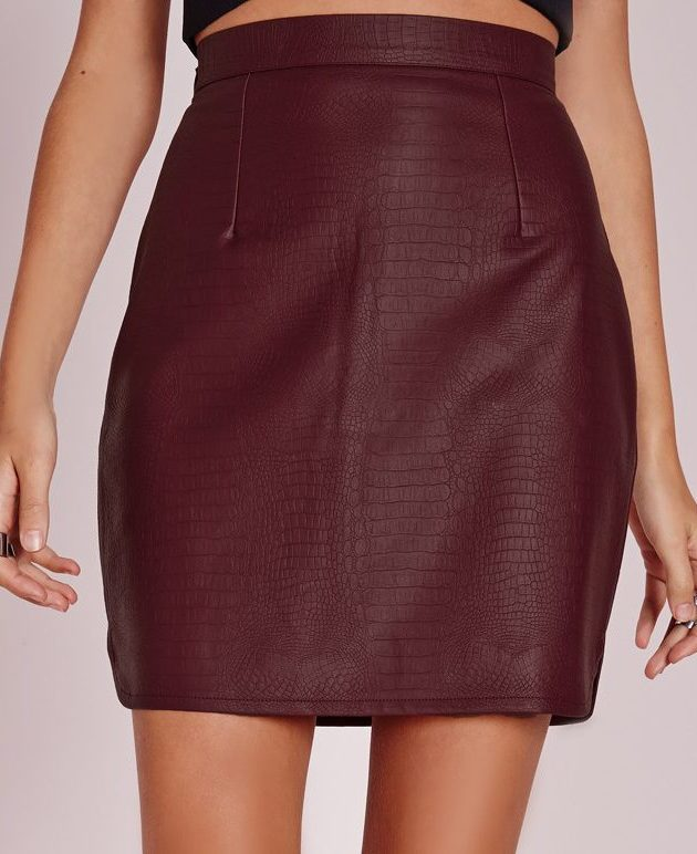 Snake Faux Leather Mini Skirt Burgundy, $17