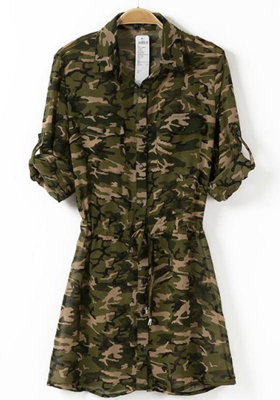 Camouflage Drawstring Single Breasted Turndown Collar Chiffon Dress, $12.99