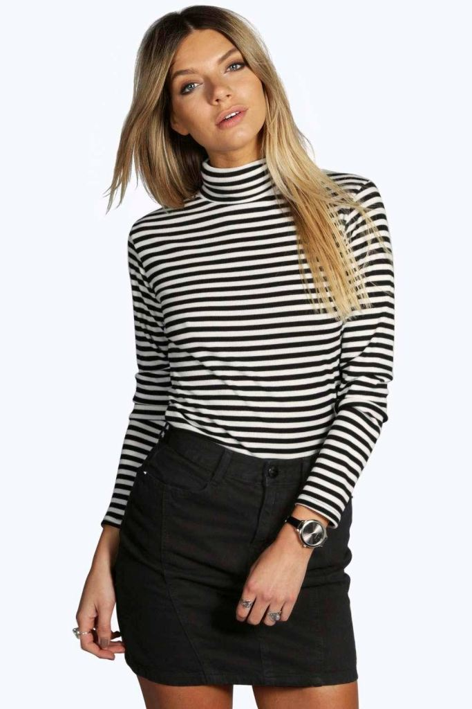 Hope Ribbed Striped Turtle Neck Top, $20.00