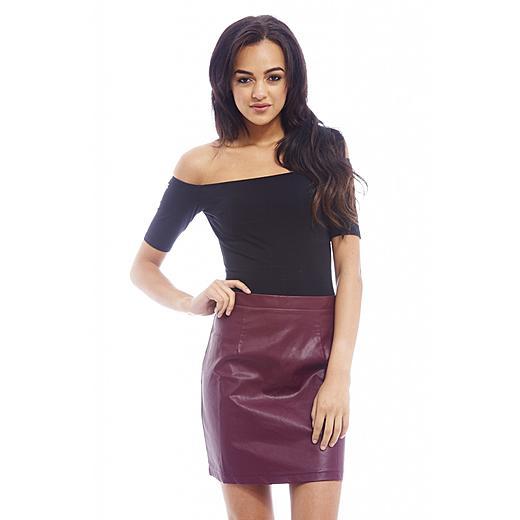 AX Paris Women's Faux Leather Mini Burgundy Skirt, $24.00