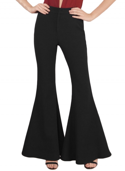 Black High Waist Buttons Bell Bottom Womens Leisure Pants, $36.29