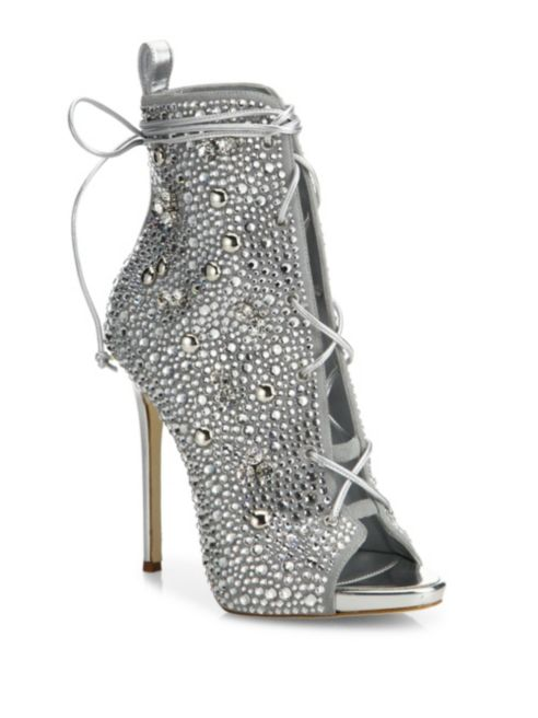 Giuseppe for Jennifer Lopez 110 Crystal-Embellished Suede Lace-Up Booties, $2995.00