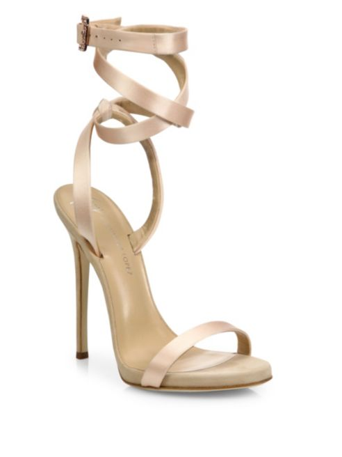 Giuseppe for Jennifer Lopez 120 Satin Ankle-Wrap Sandals, $895.00