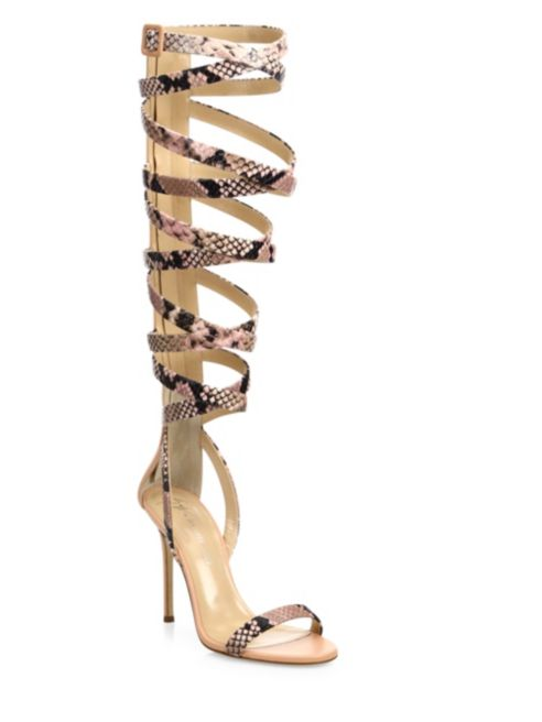 Giuseppe for Jennifer Lopez 120 Satin Ankle-Wrap Sandals, $1295.00