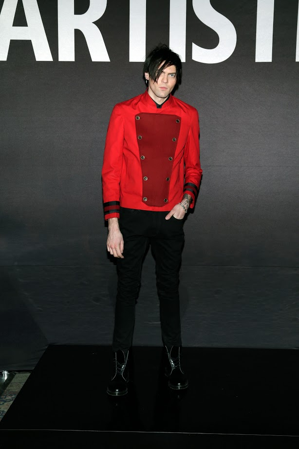 Look # 1. Axel- Harvest Color Blocked Chef's Coat; ARTISTIX Black Jean (Photo by Lars Niki/Getty Images for ARTISTIX)